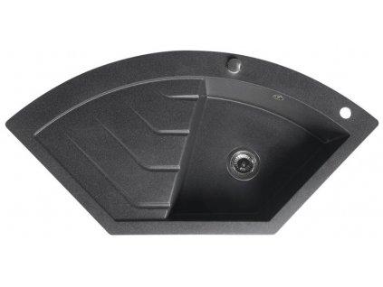 SAPHO - Dřez granitový vestavný rohový s odkapávací plochou 114x57,5 cm, černá GR1934