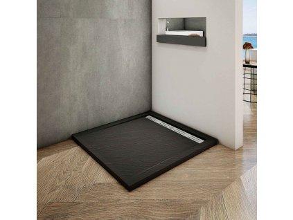 H K - BLACK STAR sprchová vanička z litého mramoru, čtverec, 100x100x3 cm SE-BLACKSTAR1010SET