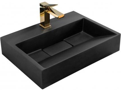 REA - Umyvadlo na desku Goya 46x70 černá matná REA-U8778