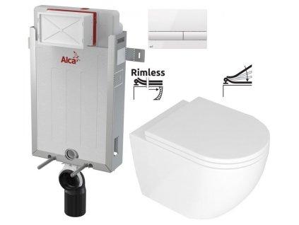 ALCAPLAST Renovmodul - předstěnový instalační systém s bílým tlačítkem M1710 + WC REA Carlo Mini Basic Rimless + SEDÁTKO AM115/1000 M1710 CB1