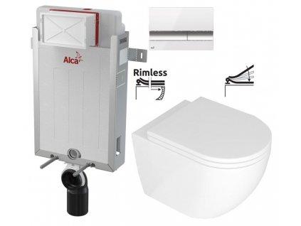 ALCAPLAST Renovmodul - předstěnový instalační systém s bílým/ chrom tlačítkem M1720-1 + WC REA Carlo Mini Basic Rimless + SEDÁTKO AM115/1000 M1720-1 CB1