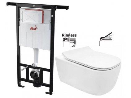 ALCAPLAST Jádromodul - předstěnový instalační systém bez tlačítka + WC REA Mateo Rimless + SEDÁTKO AM102/1120 X MA1