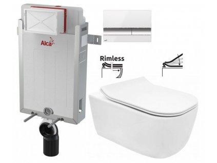 ALCAPLAST Renovmodul - předstěnový instalační systém s bílým/ chrom tlačítkem M1720-1 + WC REA Mateo Rimless + SEDÁTKO AM115/1000 M1720-1 MA1