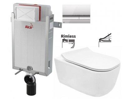 ALCAPLAST Renovmodul - předstěnový instalační systém s chromovým tlačítkem M1721 + WC REA Mateo Rimless + SEDÁTKO AM115/1000 M1721 MA1