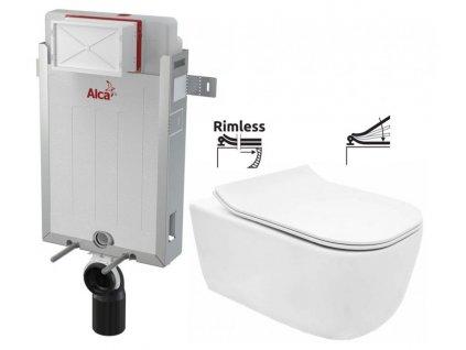 ALCAPLAST Renovmodul - předstěnový instalační systém bez tlačítka + WC REA Mateo Rimless + SEDÁTKO AM115/1000 X MA1