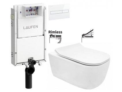 LAUFEN Podomít. systém LIS TW1 SET s bílým tlačítkem + WC REA Mateo Rimless + SEDÁTKO H8946630000001BI MA1