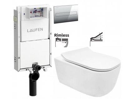 LAUFEN Podomít. systém LIS TW1 SET s chromovým tlačítkem + WC REA Mateo Rimless + SEDÁTKO H8946630000001CR MA1