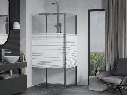 MEXEN/S - APIA sprchový kout 130x70 cm, dekor - pruhy, chrom 840-130-070-01-20