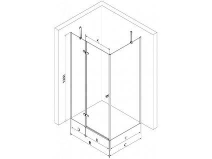 MEXEN/S - ROMA sprchový kout 80x90 cm, transparent, chrom 854-080-090-01-00