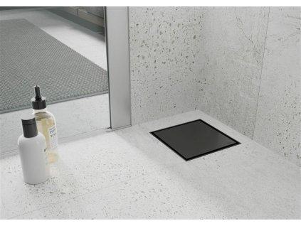 MEXEN - Plochá podlahová vpusť čtverec 12x12 cm černá 1710012