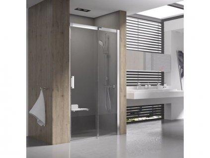 Výprodej - Ravak Matrix sprchové dveře MSD2, 107,5-111,5x195 cm, pravá, bílá, dekor transparent