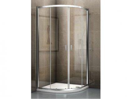 Riho Hamar 2.0 čtvrtkruhový sprchový kout 90x90x200 cm, R550, chrom, Riho-Shield, čiré sklo + sprchová vanička DB14, bílá (GSET117)