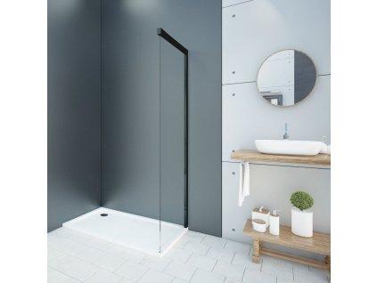 Aquatek - WELLNESS BLACK F1 95 pevná boční stěna do kombinace s dveřmi, 92-94cm, sklo 6mm WELLNESSBLACKF195