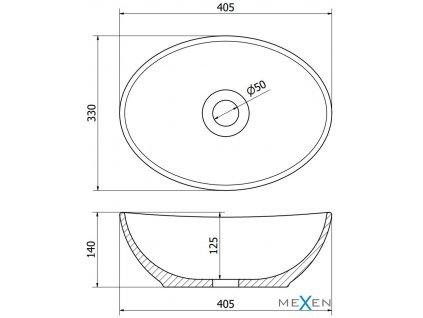 MEXEN - Elza umyvadlo na desku 40 x 33 cm zlaté 21014050