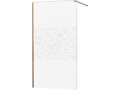 MEXEN/S - KIOTO Sprchová zástěna WALK-IN 120x200 cm 8 mm, růžové zlato, bílý vzor 800-120-101-60-85