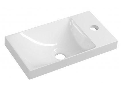 SAPHO - AGOS umyvadlo bez přepadu, 40x22cm, litý mramor, bílá, levé/pravé AS400