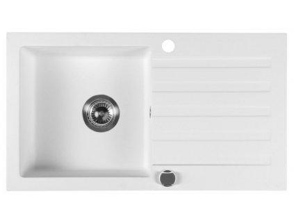 SAPHO - Dřez granitový vestavný s odkapávací plochou, 78x44 cm, bílá GR7201