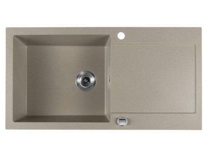 SAPHO - Dřez granitový vestavný s odkapávací plochou, 97x50 cm, béžová GR1612