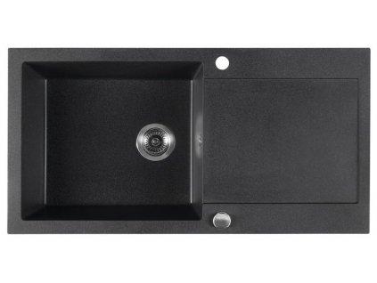 SAPHO - Dřez granitový vestavný s odkapávací plochou, 97x50 cm, černá GR1614