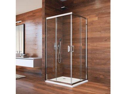MEREO - Sprchový set: LIMA, obdélník, 100x80 cm, chrom ALU, sklo Čiré, vanička z litého mramoru CK82413KM
