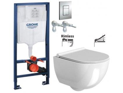 Rapid SL pro závěsné WC 38528SET s chromovou deskou + WC REA Carter Rimless + SEDÁTKO 38772001 CT1