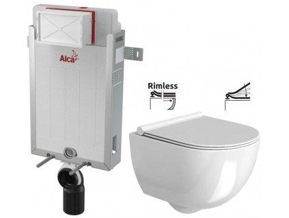 ALCAPLAST Renovmodul - předstěnový instalační systém bez tlačítka + WC REA Carter Rimless + SEDÁTKO AM115/1000 X CT1