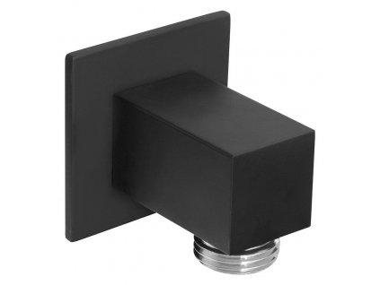 SAPHO - Vývod sprchy, hranatý, tenká krytka, černá mat SG302NE