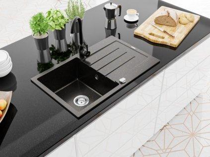 MEXEN - Bruno granitový dřez 1 s odkapávačem 900x500 mm, černá / zlatá metal 6513791010-75