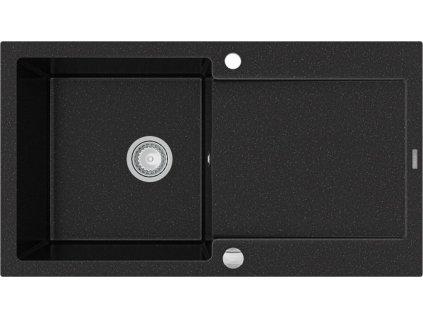 MEXEN - Leo granitový dřez 1 s odkapávačem 900x500 mm, černá / stříbrná metalíza 6501901010-73