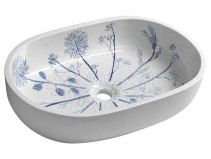 SAPHO - PRIORI keramické umyvadlo, 60x13,5x40 cm, bílá s modrým vzorem PI029