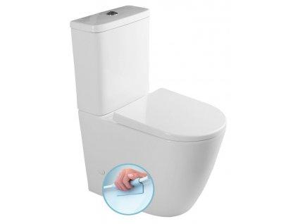 SAPHO - TURKU WC kombi zvýšené Rimless + sedátko Soft Close, spodní/zadní odpad, bílá PC104