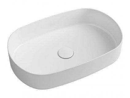 SAPHO - INFINITY OVAL keramické umyvadlo na desku, 55x36 cm, bílá mat 10NF65055-2L