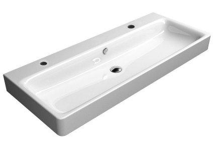 GSI - SAND keramické umyvadlo 120x50 cm, 2 OTVORY, bílá ExtraGlaze 9024211