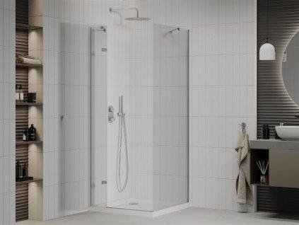 MEXEN/S - Roma sprchový kout 90x90 cm, kyvný, čiré sklo, chrom + vanička 856-090-090-01-00-4010