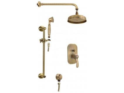 SAPHO - KIRKÉ podomítkový sprchový set s pákovou baterií, 2 výstupy, bronz KI42B-01
