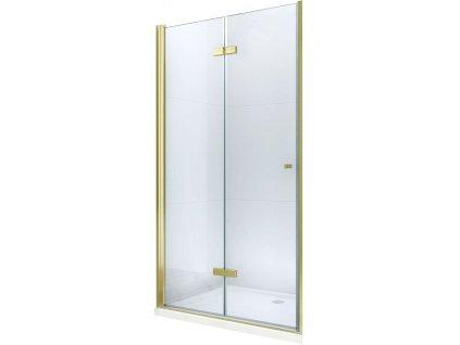 MEXEN - Lima skládací sprchové dveře 90 cm, čiré sklo, zlatý se stěnovým profilem 856-090-000-50-00