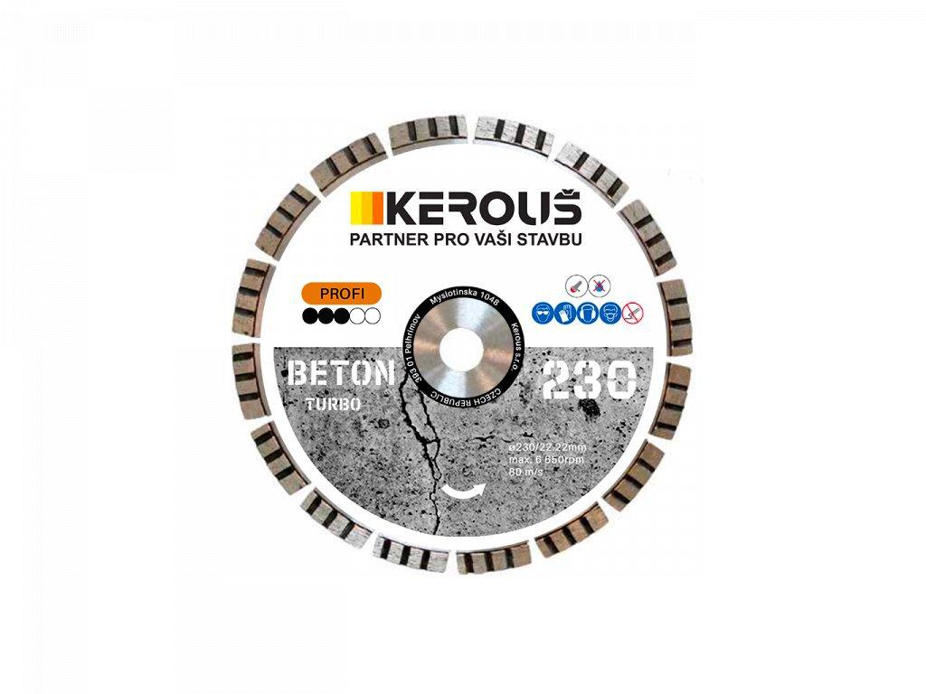 Diamantový řezný kotouč 230 x 2,6 x 22,2 TURBO BETON