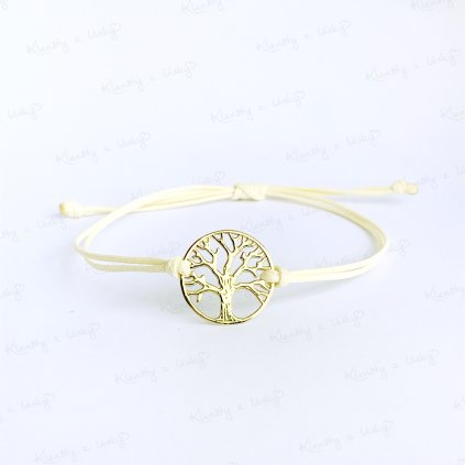 naramek na šňurce strom života žtuté zlato kremova