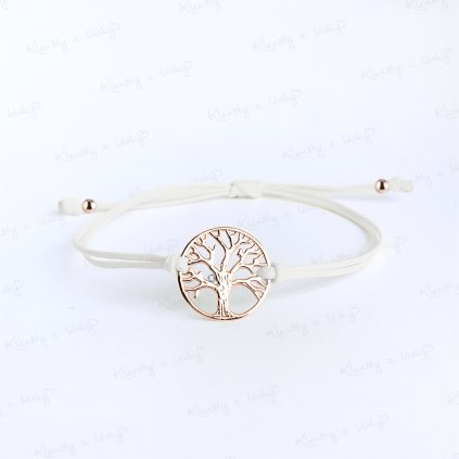 briliantový naramek na šňurce strom života růžové zlato šedá