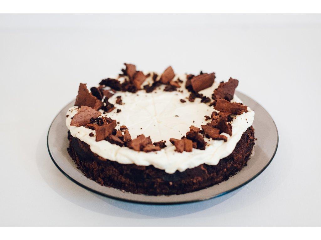Kaštanový brownie dort smascarpone bez lepku