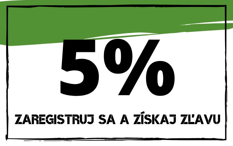 5% zľava pri registrácii