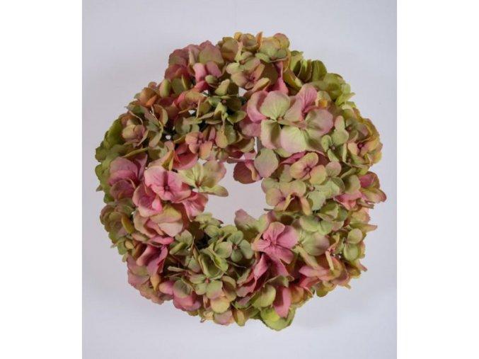 Věnec hortenzie 30 cm, růžový