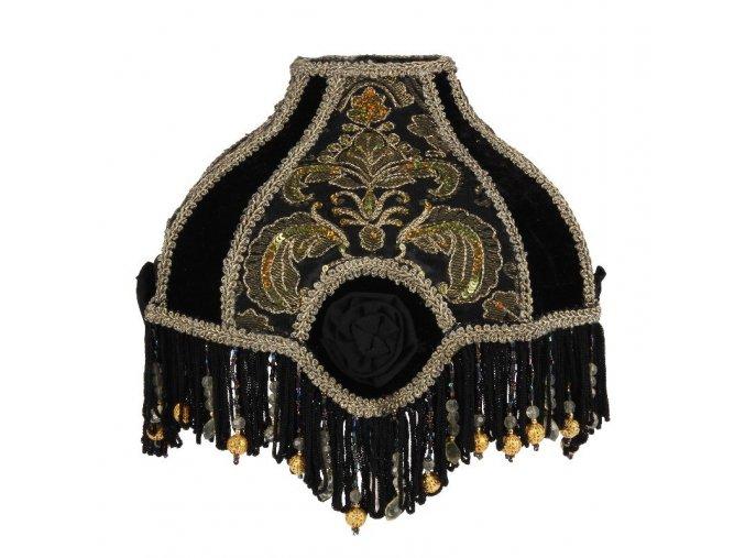 Stojací černá lampa s kulatým vyšívaným sametovým a saténovým stínidlem 23 cm