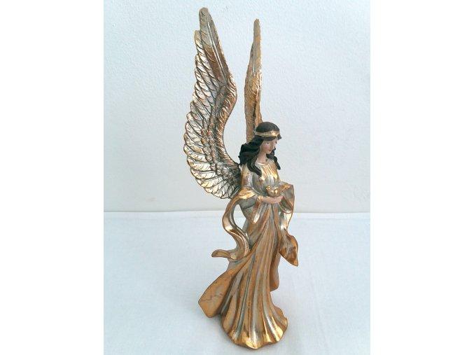 Anděl s modrozlatou patinou