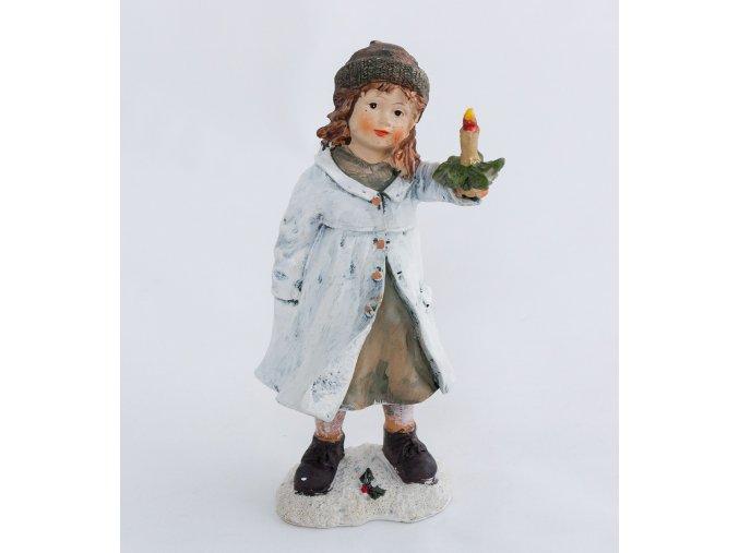 Zimní děvčátko se svíčkou