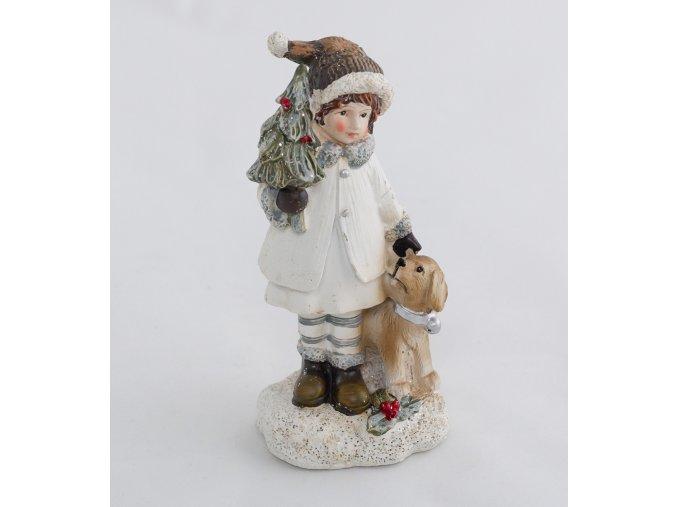 Zimní děvčátko s pejskem a stromečkem