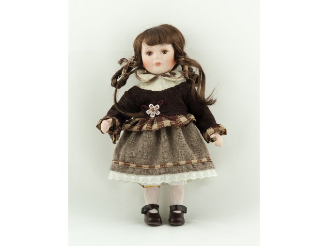 Panenka v hnědých šatech a svetru