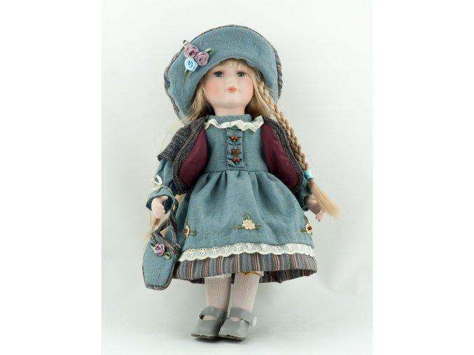 Panenka v modrých šatech a kloboučku