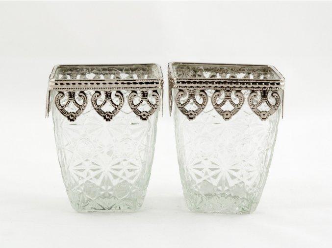 Set svícny párové čtverhranné, zdobené kovem