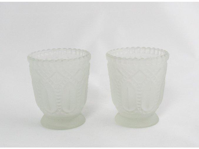 Set svícny párové z mléčného skla malé